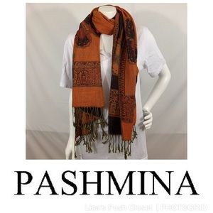 Pashmina Scarf in Black & Orange Butterfly Print